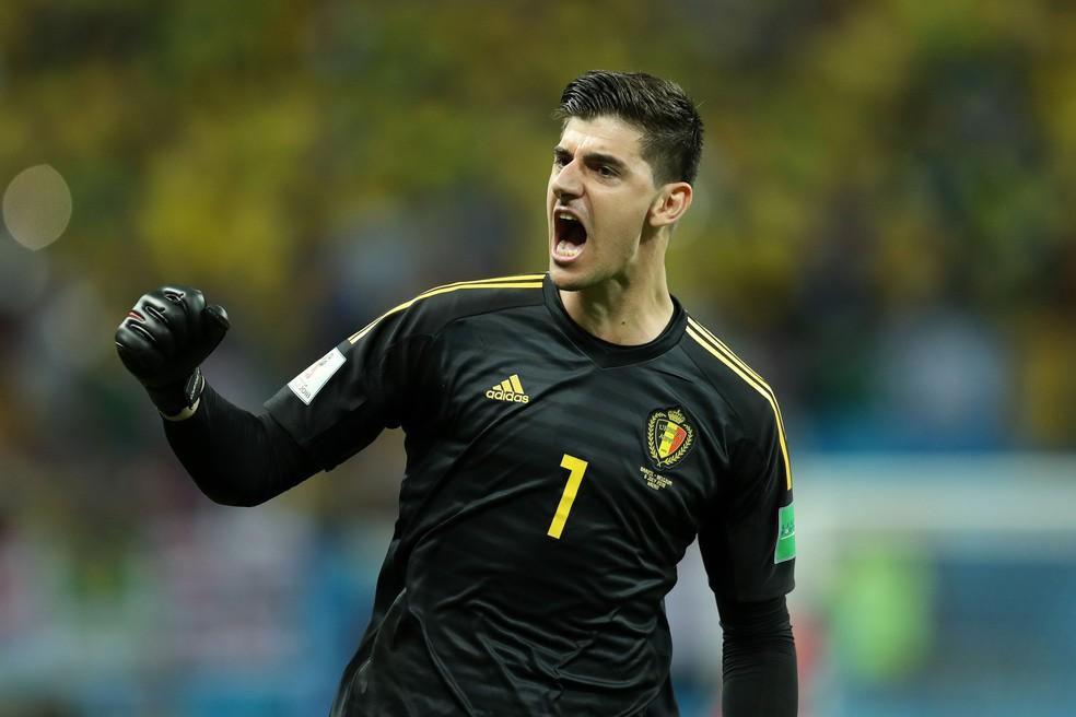 Courtois, da Bélgica, comemora classificação contra o Brasil (Foto: Catherine Ivill/Getty Images)