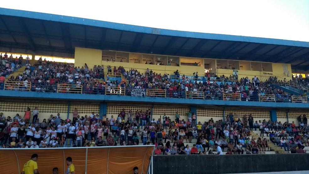 -  Público lotou arquibancada do estádio durante o Cristoval  Foto: Pablo Vistei/TV Tapajós