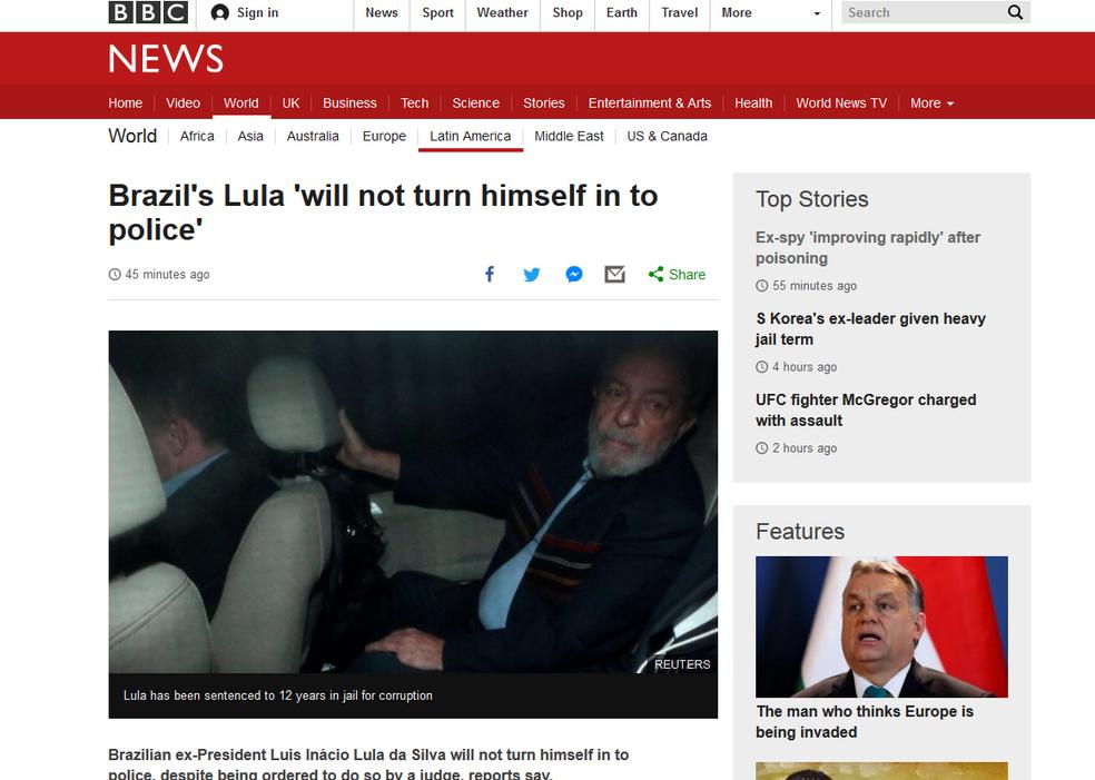 BBC afirma que, segundo relatos, Lula não deve se entregar à polícia (Foto: Reprodução/G1)