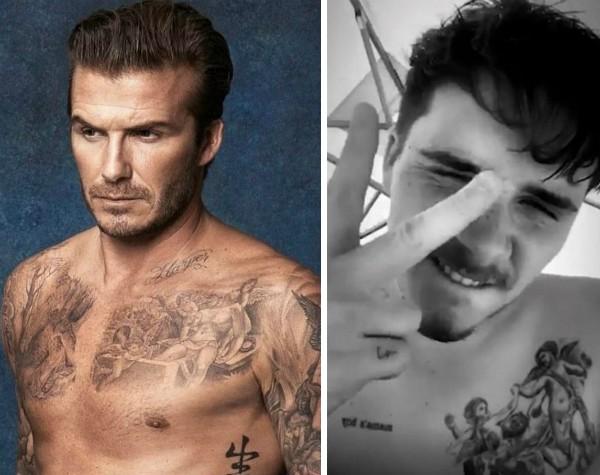 David Beckham e Brooklyn Beckham, pai e filho possuem a mesma tatuagem de querubins (Foto: Instagram)