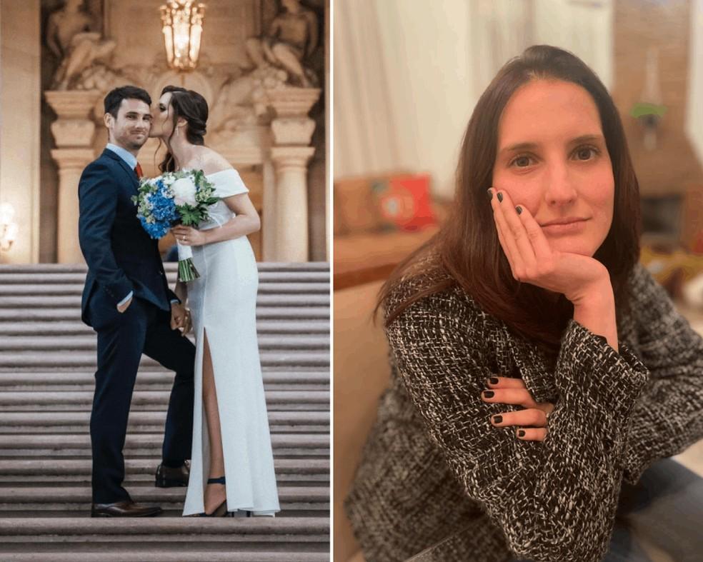 Aline Anunciato e Kael: casamento à distância por causa do visto — Foto: Reprodução/Arquivo pessoal