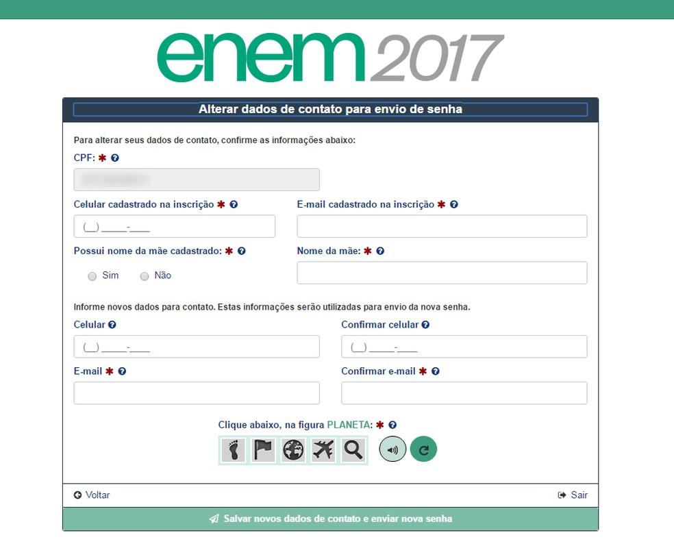Para recuperar a senha do Enem 2017, será preciso inserir dados pessoais pedidos aleatoriamente pelo sistema (Foto: Reprodução/Inep)