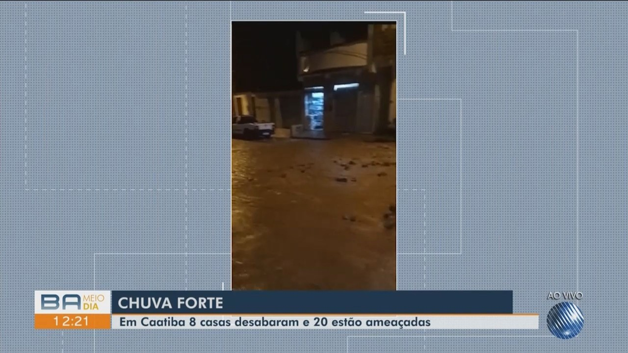 Chuva forte derruba oito casas no município de Caatibas, sudoeste da Bahia
