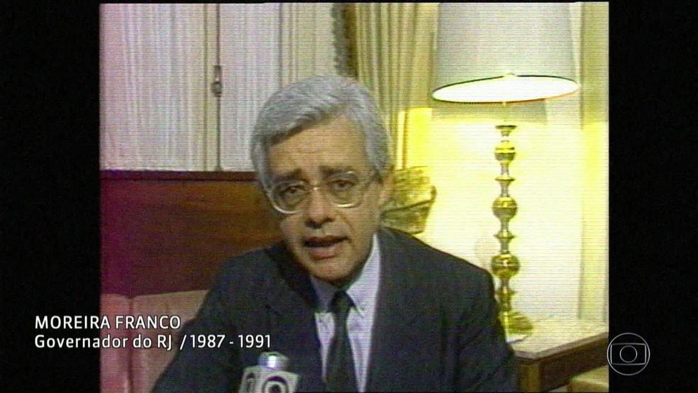 Moreira Franco, quando era governador do Rio (Foto: Reprodução/Acervo/Globo)