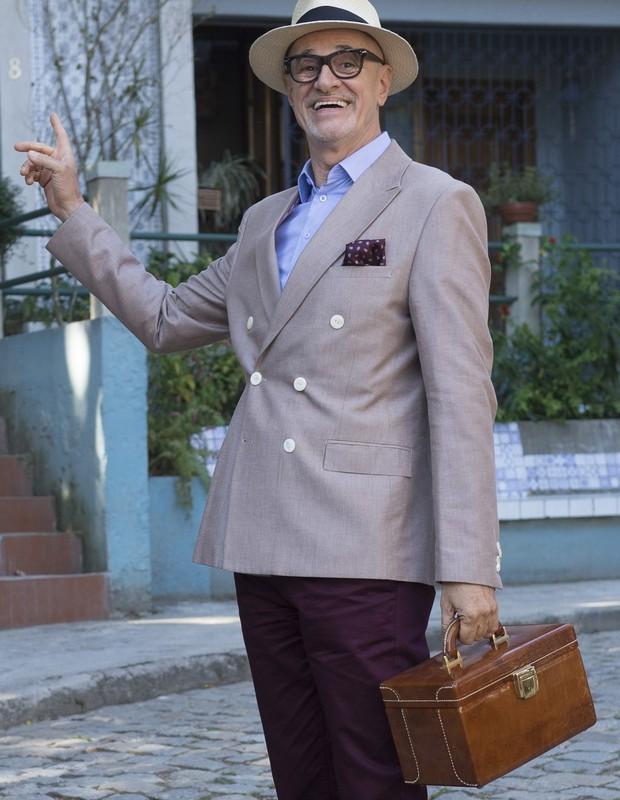 Marcos Caruso caracterizado como Pedrinho Guimarães, seu papel em Pega Pega (Foto: TV Globo)