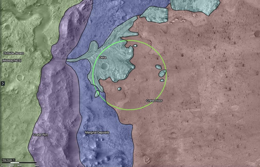 Localização da cratera de Marte onde irá aterrissar a missão em fevereiro de 2021 — Foto: JPL-Caltech/USGS/University of Arizona/Nasa