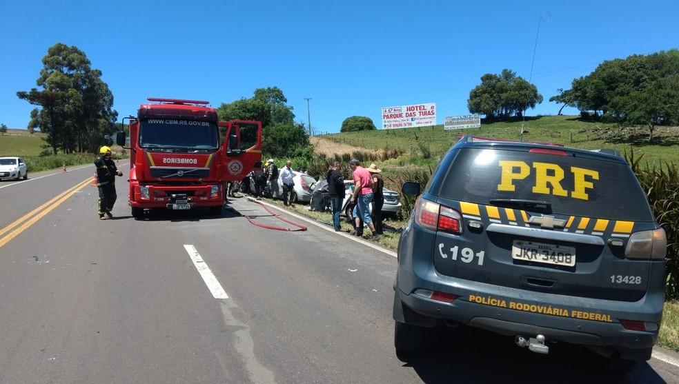 Acidente aconteceu na altura do km 237 da BR-386, em Soledade (Foto: Divulgação/PRF)