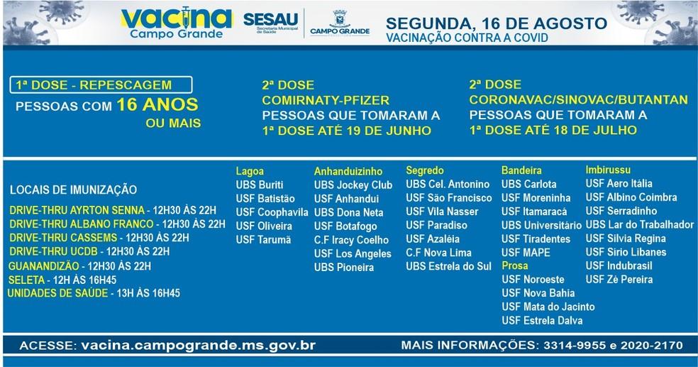 Locais e horários para vacinação de pessoas com 16 anos ou mais e segunda dose nesta segunda, em Campo Grande — Foto: Sesau/Divulgação
