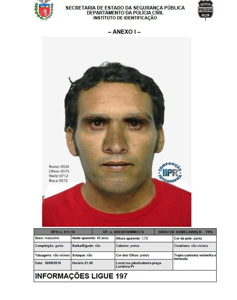 Nucria divulgou retrato falado de suspeito de estuprar adolescente na zona leste de Londrina — Foto: Polícia Civil do Paraná/Divulgação