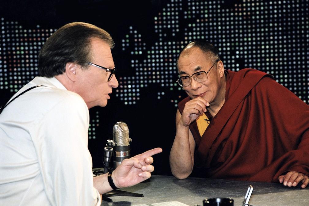 Larry King entrevista Dalai Lama — Foto: CNN