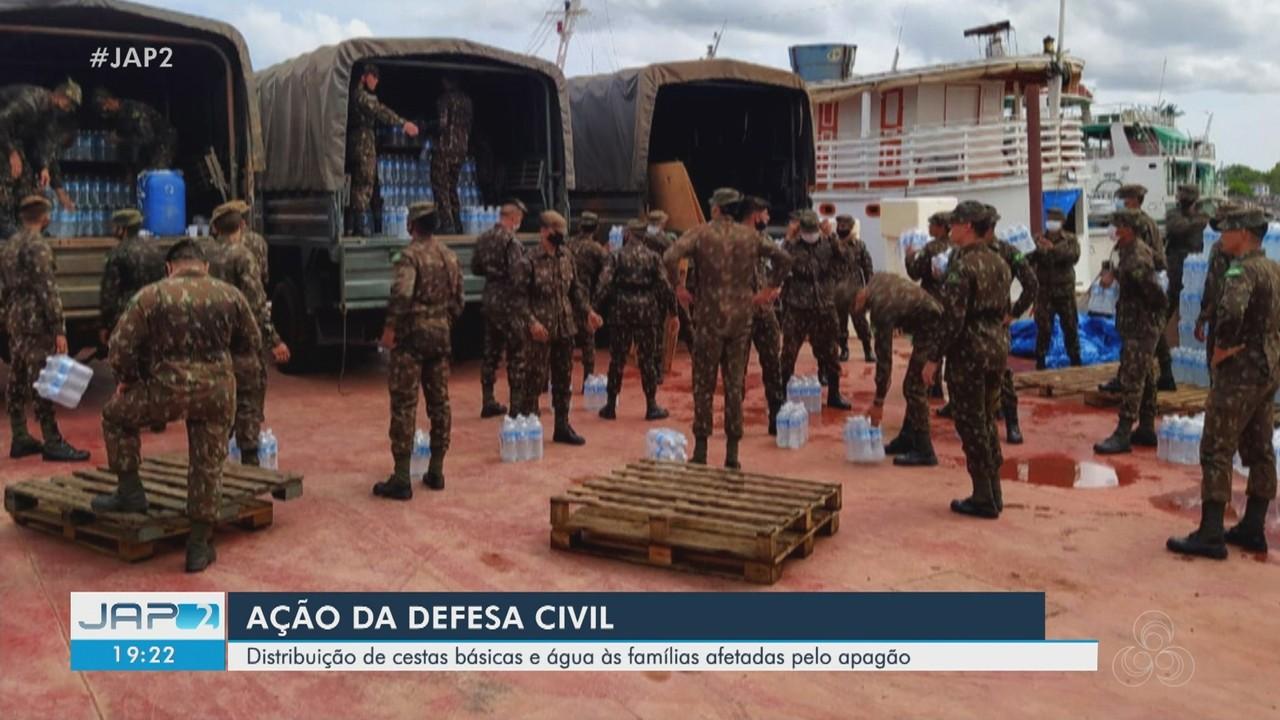 Defesa Civil distribui cestas básicas e água a famílias afetadas no apagão