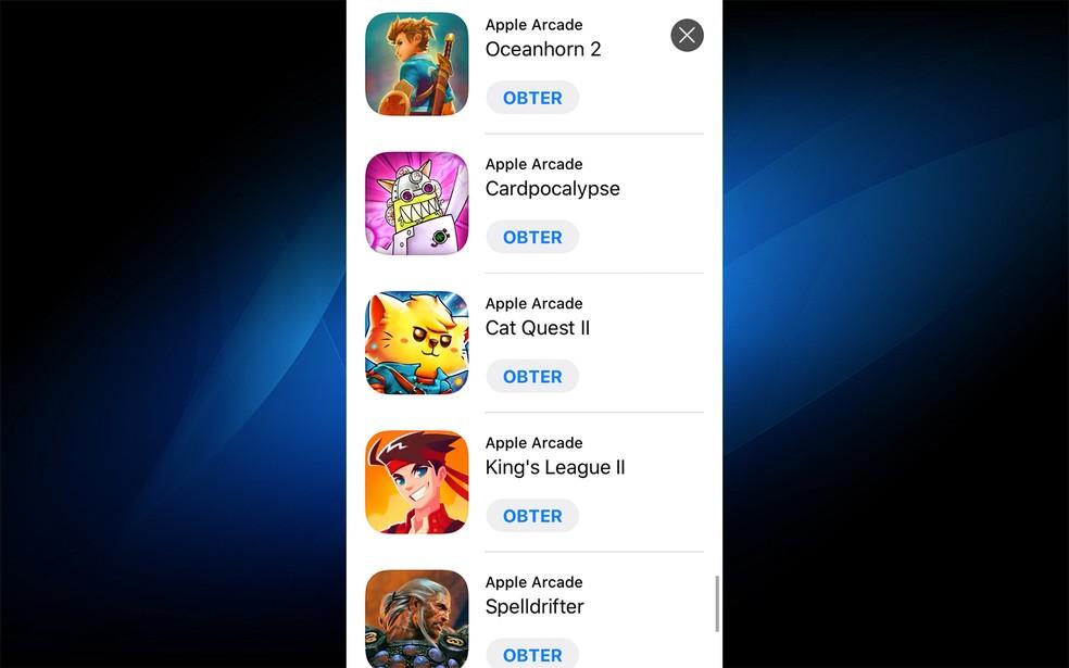 Apple Arcade tem variedade de jogos — Foto: Reprodução/Felipe Vinha