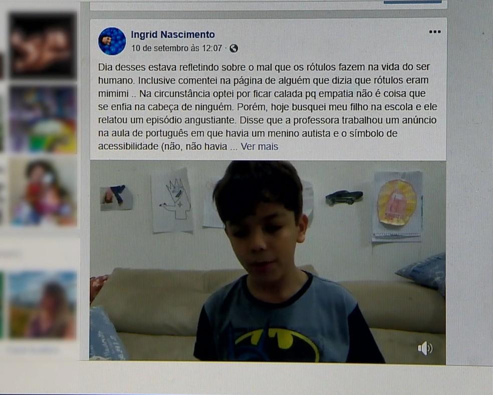 Mãe postou o relato do filho autista na internet, no ES  — Foto: Reprodução/ Facebook