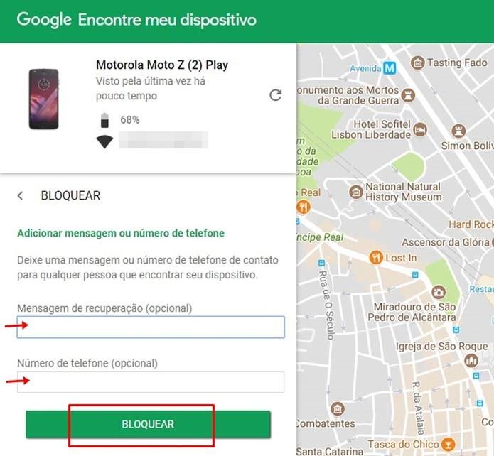 É possível inserir uma mensagem de bloqueio através do serviço do Google (Foto: Reprodução/Taysa Coelho)