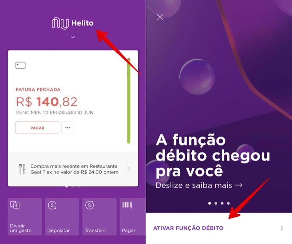 Ativando a função débito no Nubank — Foto: Reprodução/Helito Beggiora