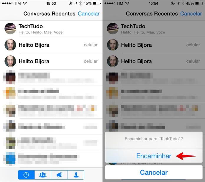 Selecione o contato ou grupo para encaminhar a mensagem (Foto: Reprodução/Helito Bijora)