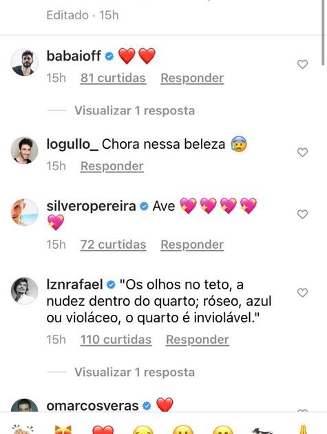 Colegas de profissão de Jesuita Barbosa comentaram na foto postada por ele  (Foto: Reprodução/Instagram)