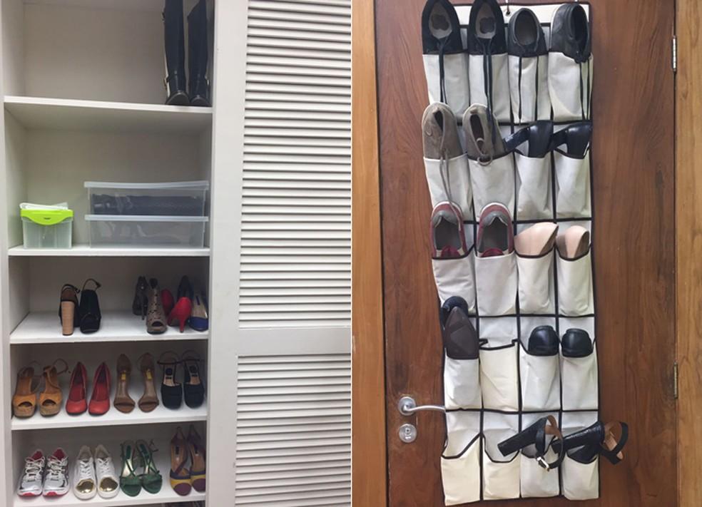 b1b6ab8123 ... de Casa' dá dicas para organizar sapatos em casa — Foto: Priscilla. '