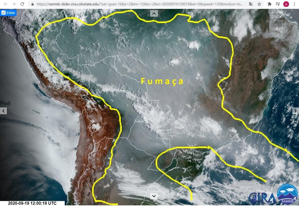 A fumaça das queimadas na Amazônia e no Pantanal já se estende por mais de 4 mil quilômetros da América Latina e chega a cobrir parte dos países vizinhos – Imagem de 19 de setembro — Foto: Inpe/Reprodução