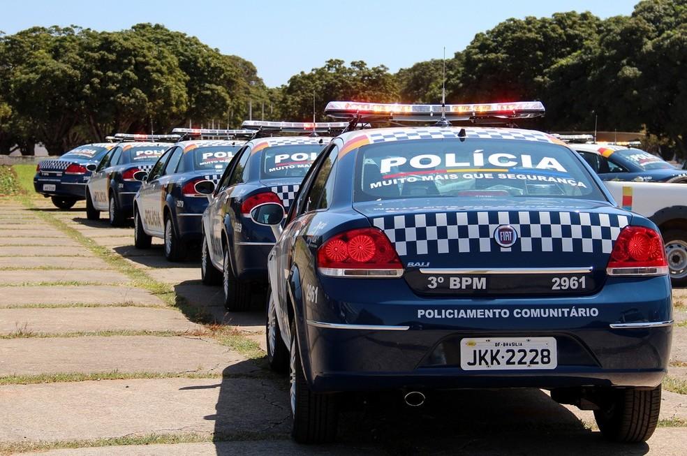 Carros da PM do Distrito Federal enfileirados (Foto: Polícia Militar/Divulgação)