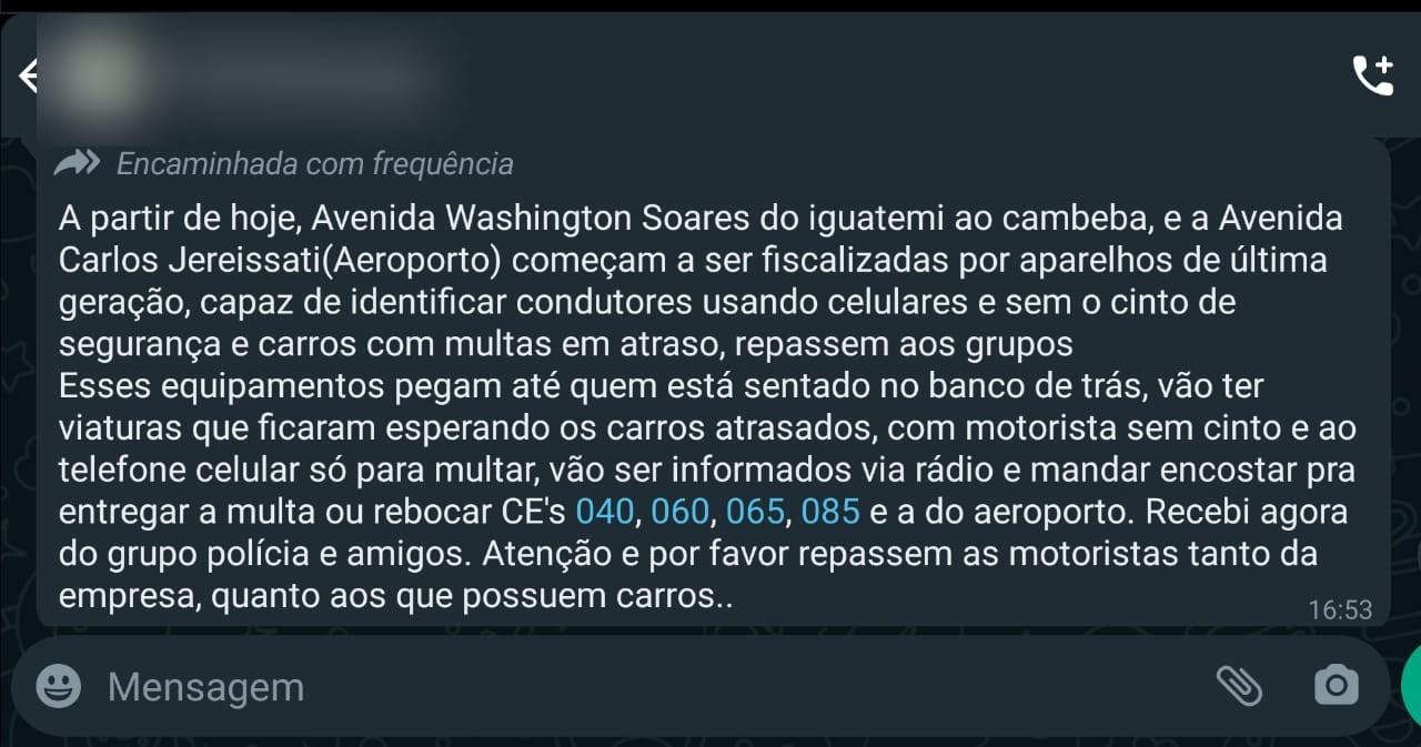 Aparelho 'de última geração' que multa motorista sem cinto e ao celular em Fortaleza é fake news, diz Detran-CE