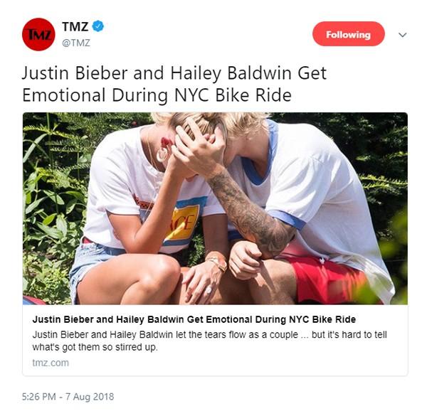 Justin Bieber e Hailey Baldwin (Foto: Twitter)