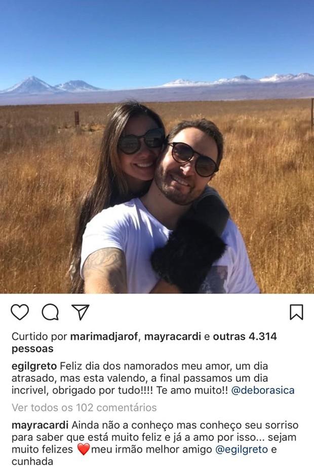 Comentário de Mayra Cardi na foto do ex-marido com a atual dele (Foto: Reprodução/Instagram)