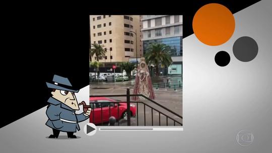Detetive Virtual esclarece: vídeo de imagem de santa levada por enxurrada é verdadeiro ou falso?
