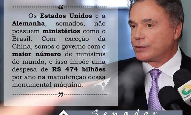 Postagem do senador Álvaro Dias