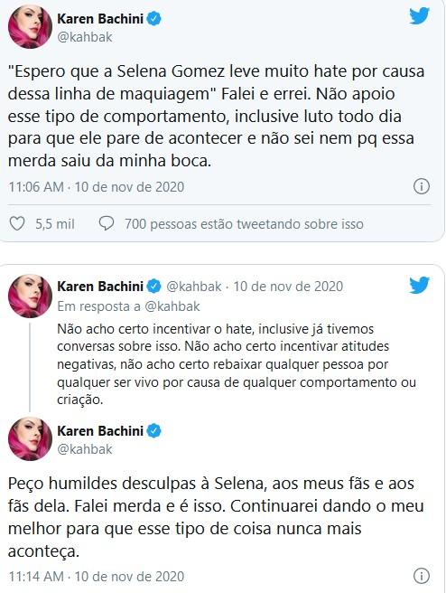 Karen Bachini se desculpa após criticar Selena Gomez (Foto: Reprodução/Twitter)