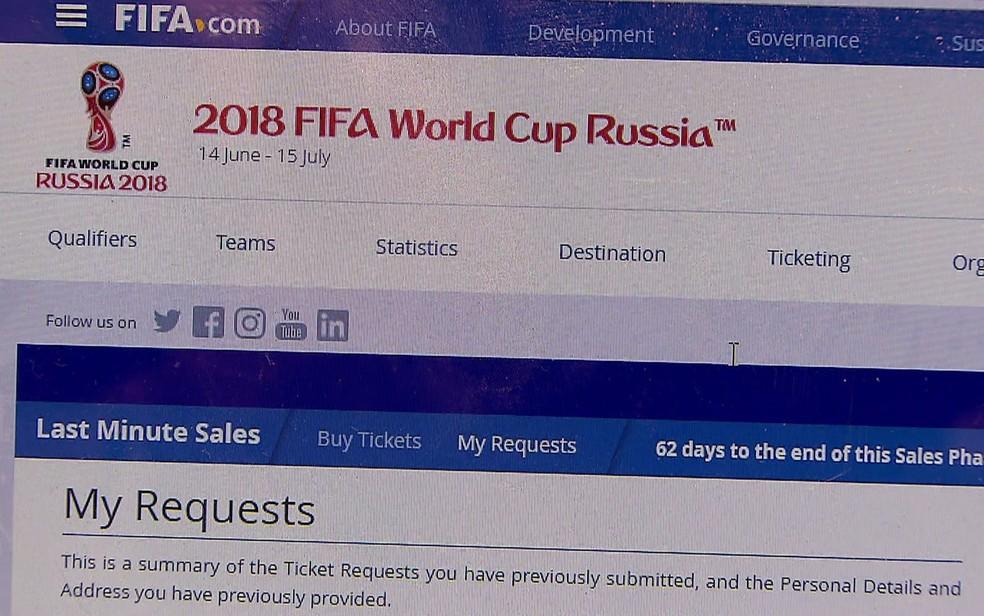 Site dos ingressos da Copa (Foto: Reprodução/TV Globo)