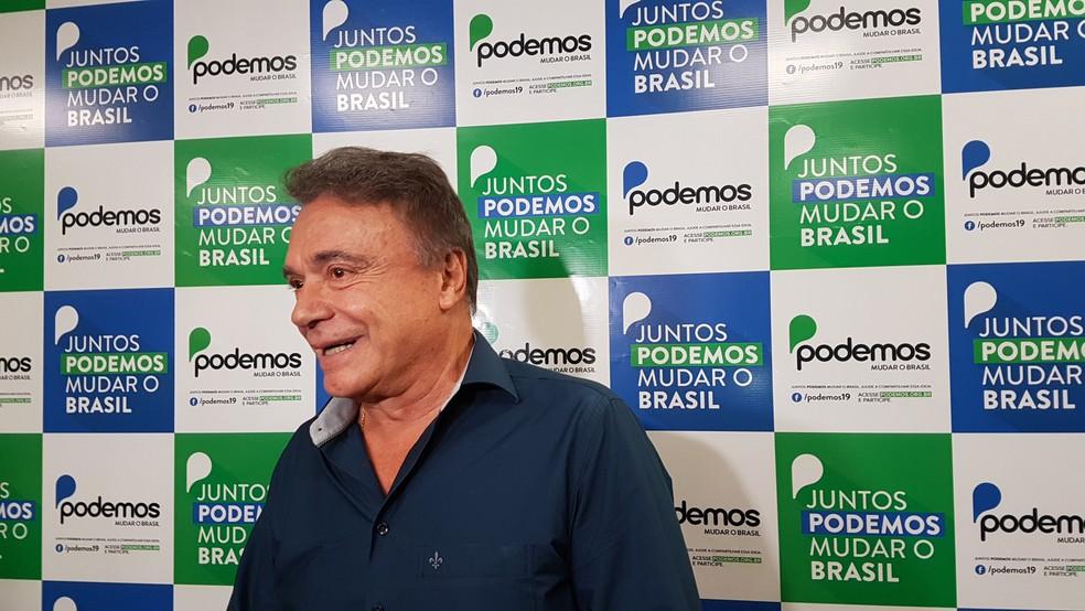 Alvaro Dias (Podemos) lança pré-candidatura à Presidência da República em Belo Horizonte.  (Foto: Raquel Freitas/G1)