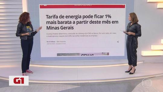 G1 no MG1: tarifa de energia pode ficar 1% mais barata a partir deste mês em Minas