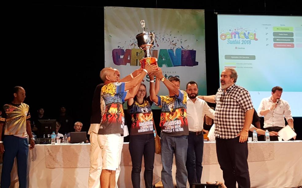 A Mocidade Dependente do Samba foi a campeã do Grupo de Acesso do carnaval de Santos, SP (Foto: Mariane Rossi/G1)