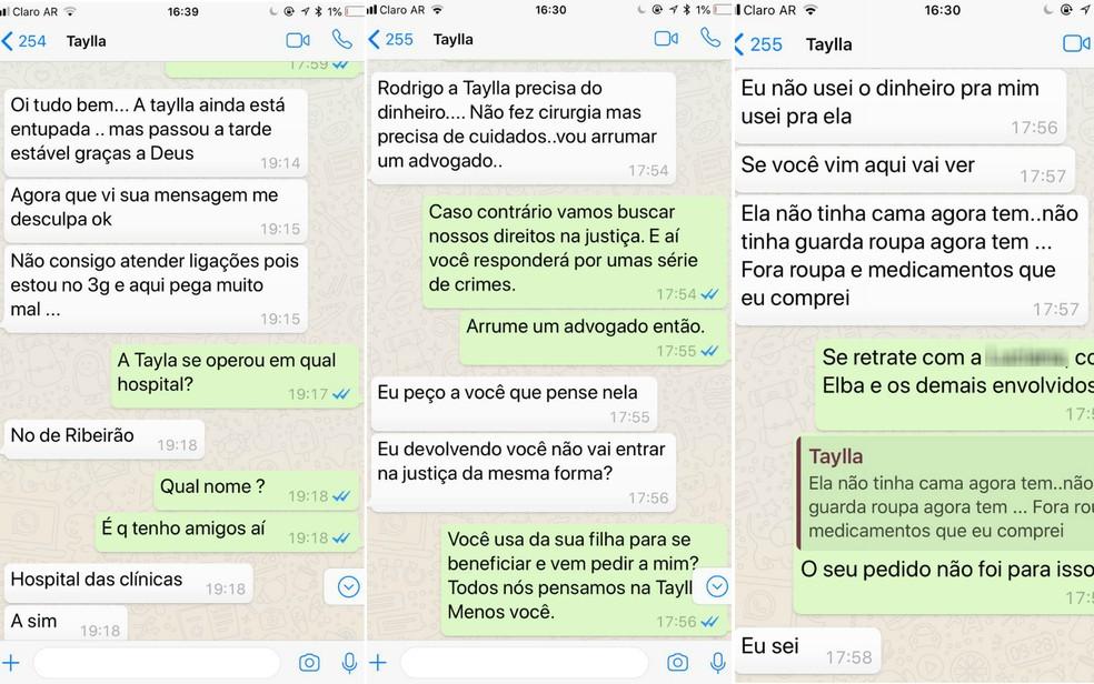 Conversas entre a mãe da menina Taylla e o produtor Rodrigo Aguiar: primeira tela em 16 de julho e as outras duas em 20 de julho (Foto: Reprodução/WhatsApp)