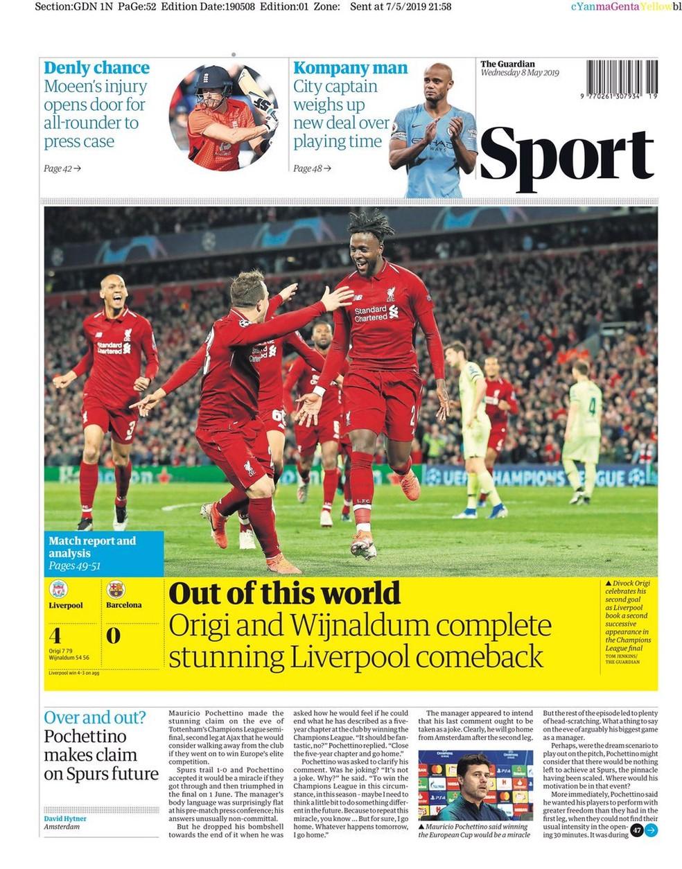 The Guardian Liverpool x Barcelona — Foto: Reprodução