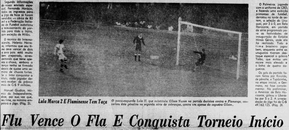 """O título do Flu em 1965 nas páginas do """"Jornal dos Sports"""" em 08/09/1965 — Foto: Reprodução / Jornal dos Sports"""