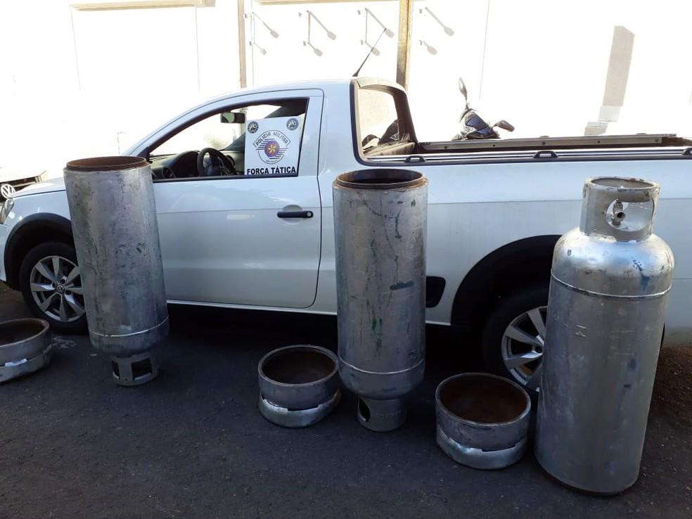 Droga foi transportada dentro de botijões de gás â?? Foto: Polícia Militar