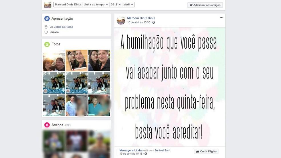 Publicação foi feita no Facebook, na segunda-feira que antecedeu o crime, em João Pessoa — Foto: Reprodução/Facebook/Marconi Diniz