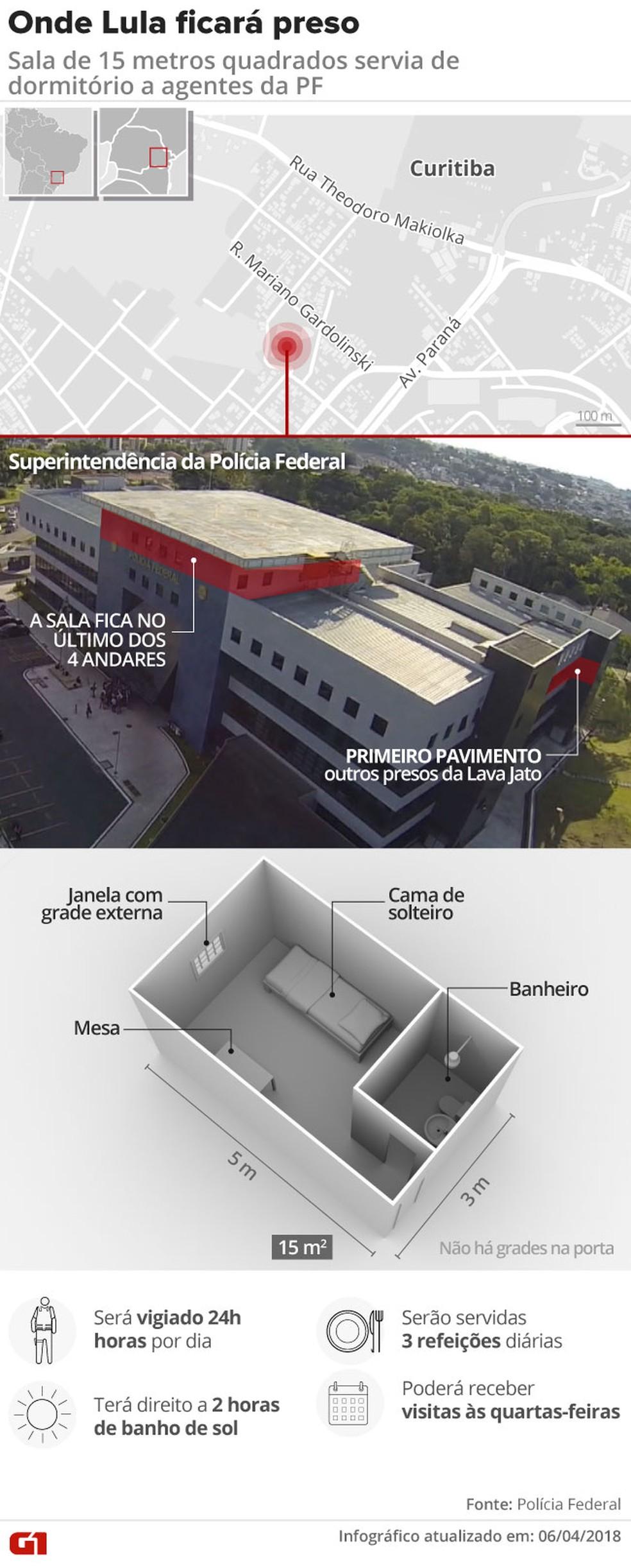 Sala especial de Lula na PF, em Curitiba (Foto: Infográfico: Alexandre Mauro, Diogo Dubiella, Igor Estrella, Karina Almeida / G1)