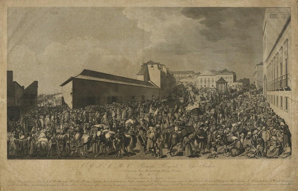 Imagem da distribuição de sopa para a  população de Lisboa, em 1808
