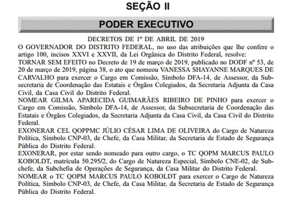 O governador do Distrito Federal, Ibaneis Rocha, exonerou o coronel Júlio César Lima de Oliveira da chefia da Casa Militar do DF — Foto: DODF/Reprodução