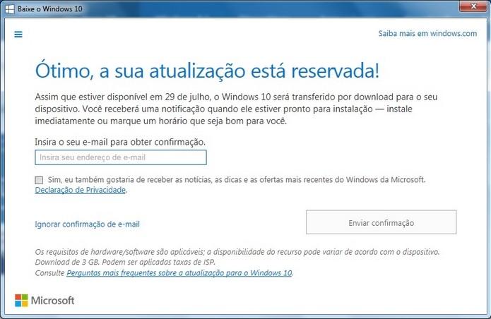 Reserva do upgrade gratuito está disponível para Windows 7, 8.1 e Windws Phone (Foto: Reprodução/Raquel Freire)