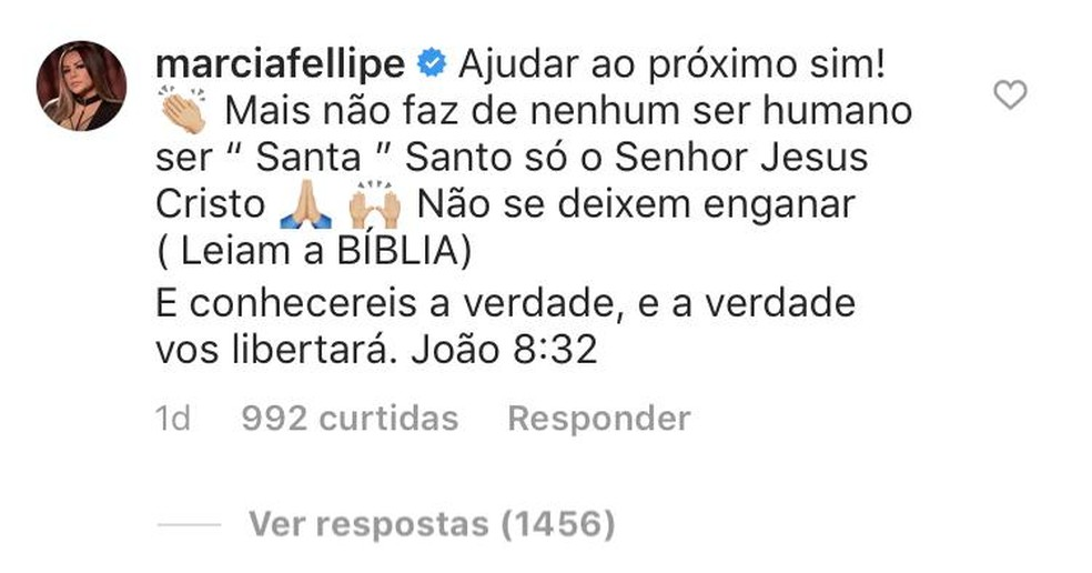 Márcia postou comentário  em que critica canonização de Irmã Dulce no Instagram. — Foto: Reprodução/Instagram
