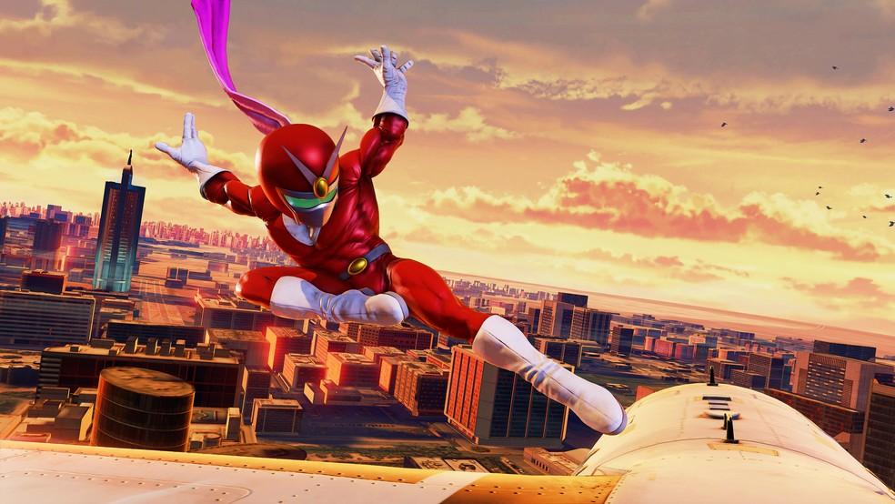 Rashid e a roupa especial de Viewtiful Joe (Foto: Divulgação/Capcom)