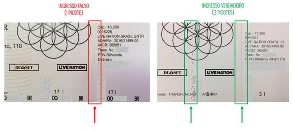Diferença entre o ingresso falso e verdadeiro (Foto: Divulgação)