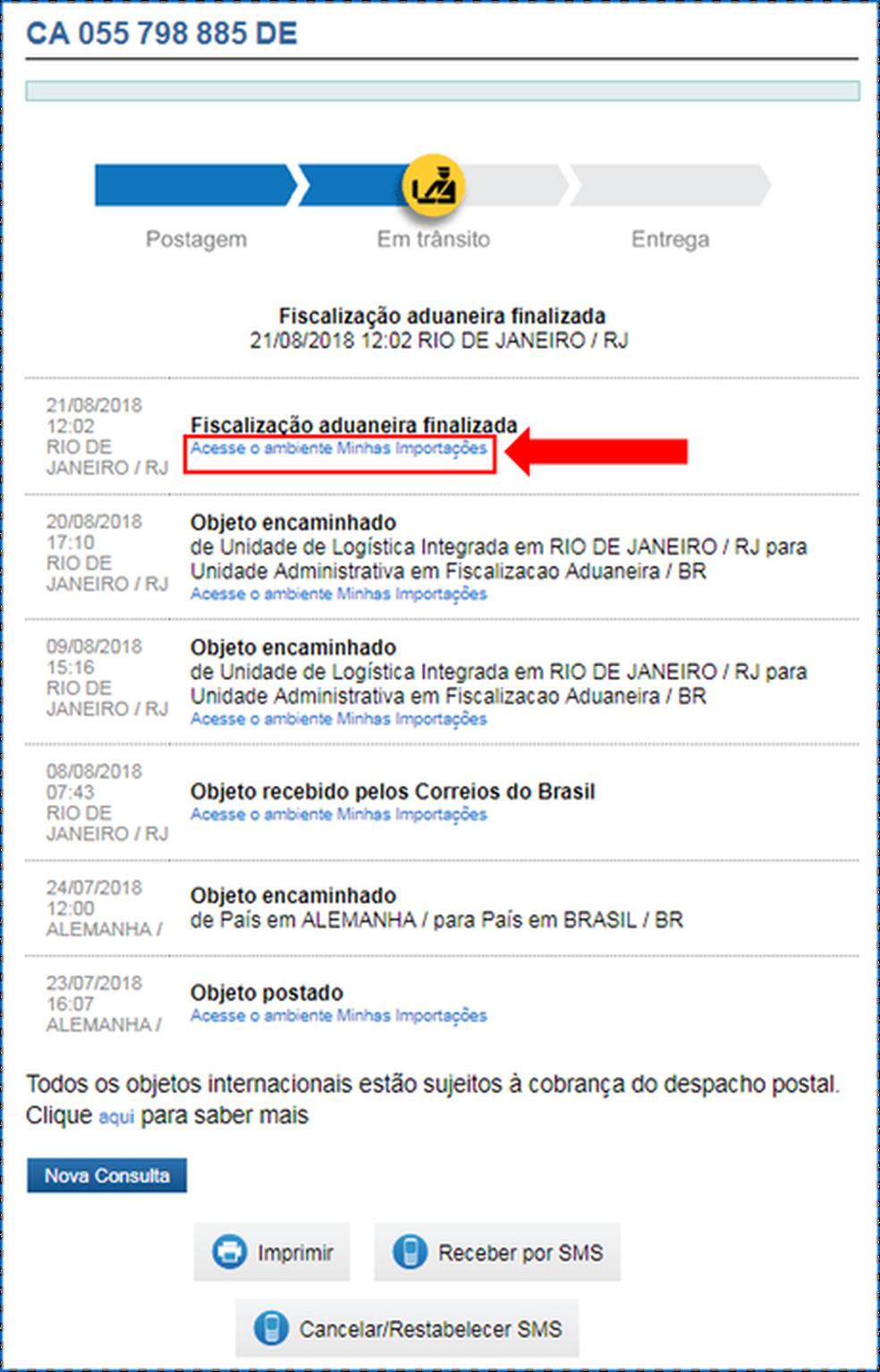Tela de pagamento do despacho postal dos Correios (Foto: Reprodução)