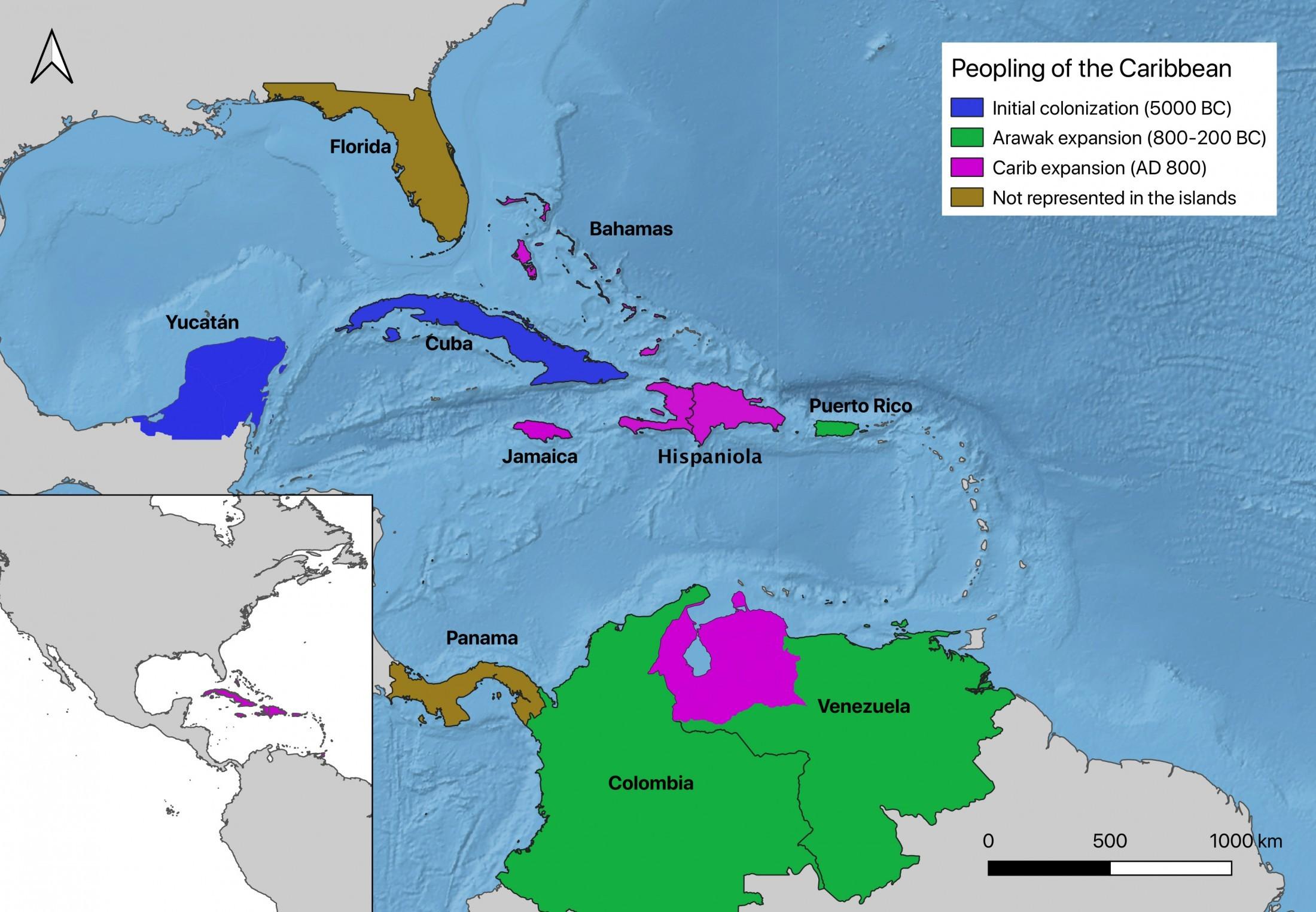 Azul: colonização inicial; Verde: expansão dos aruaques; Roxo: expansão dos caribes; e Marrom: povos não representados das ilhas (Foto: COLLEEN YOUNG/Nature)