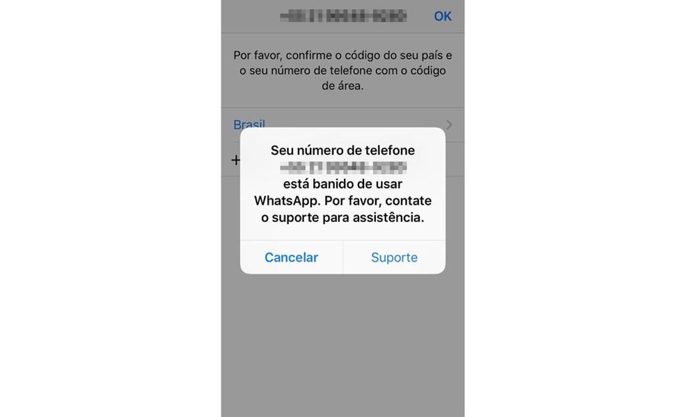 Mensagem que aparece quando o seu WhatsApp é banido.