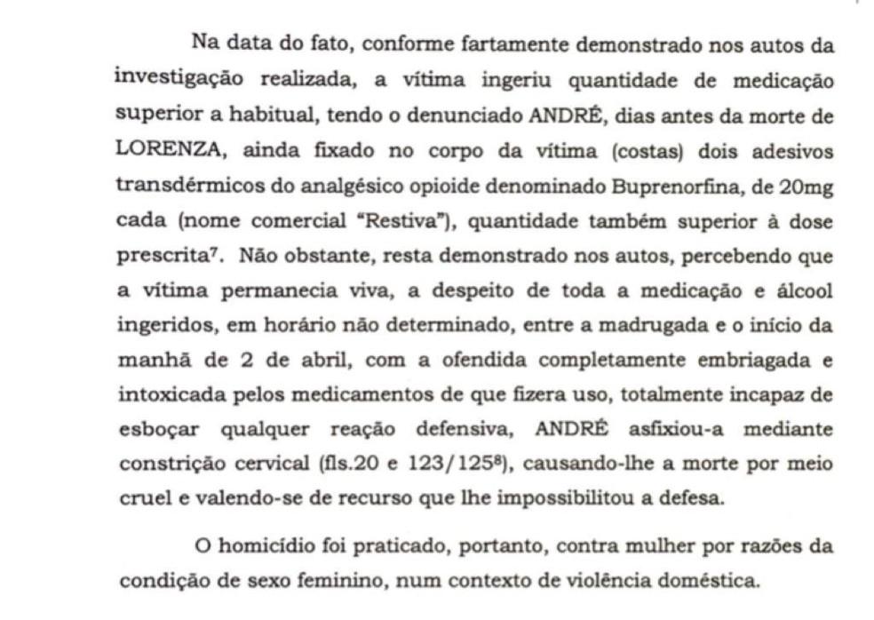 Trecho de denúncia apresentada contra promotor André de Pinho por homicídio qualificado de sua mulher, Lorenza. — Foto: Reprodução